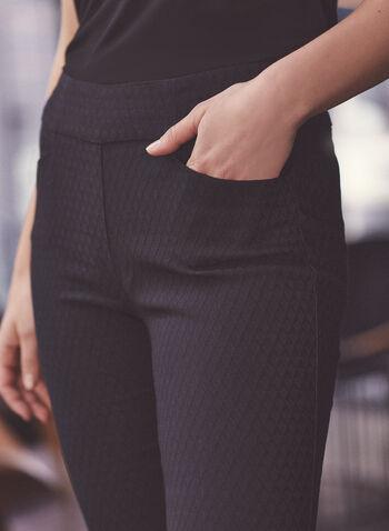 Pantalon en jacquard et détails zips, Noir,  pantalon, étroit, jacquard, zip, poche, printemps été 2020