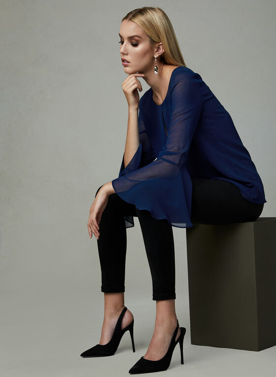 Bell Sleeve Keyhole Blouse, Blue, hi-res