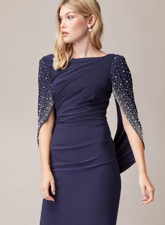 Pearl Embellished Drape Effect Dress, Blue