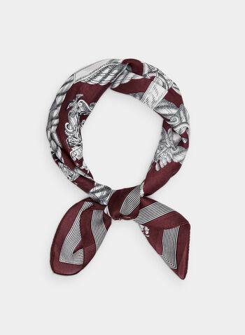 Chain Print Scarf, Red,  chain print, square print, silky, polyester, fall 2019, winter 2019