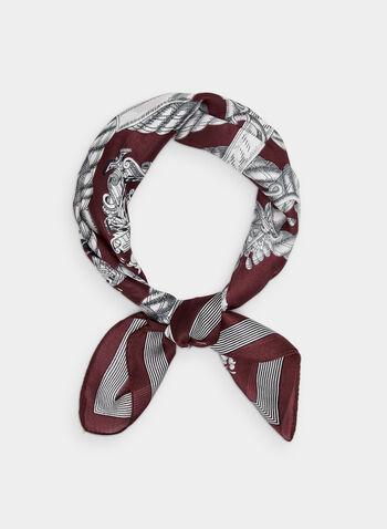 Foulard carré à motif chaînes, Rouge,  foulard, carré, chaîne, mousseline de soie, automne hiver 2019
