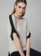 Ruffle Sleeve Crepe Top, Off White, hi-res