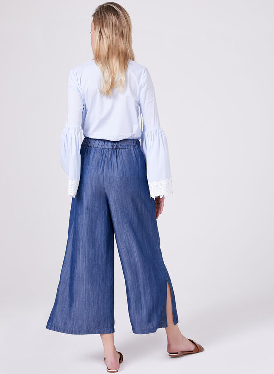 Pull On Tencel Culottes, Blue, hi-res