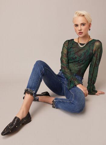 Paisley Print Mesh Blouse, Black,  fall winter 2020, blouse, top, mesh, print, pattern, paisley, print