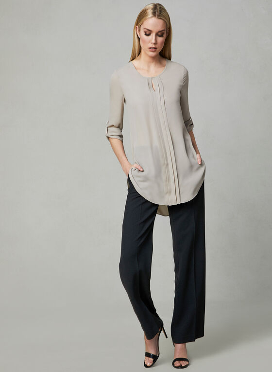 ¾ Sleeve Chiffon Blouse, Off White, hi-res