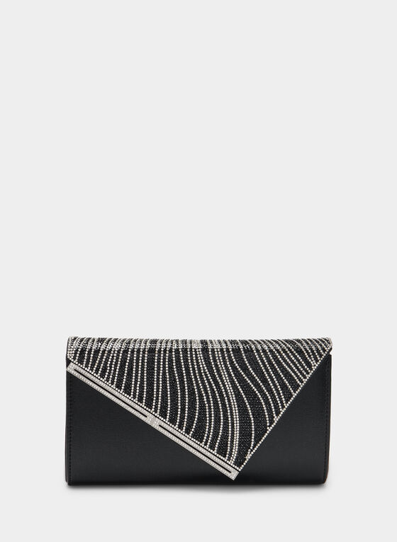 Metallic Envelope Clutch, Black