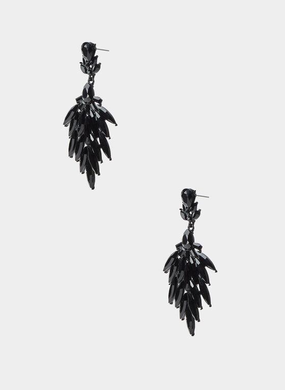 Stone Cluster Dangle Earrings, Black