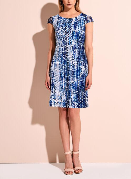 Linea Domani Printed Mesh Overlay Dress, Blue, hi-res