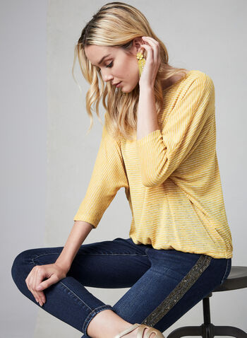 Striped Dolman Sleeve Top, Gold, hi-res