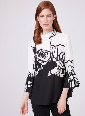 Frank Lyman - Floral Print Chiffon Top, Black, hi-res