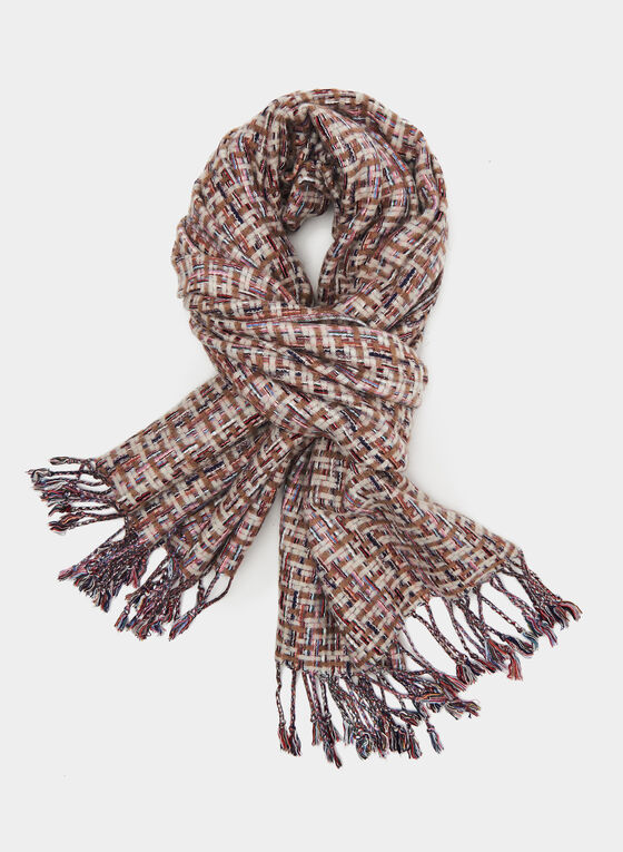 Weaved Knit Scarf, Off White, hi-res