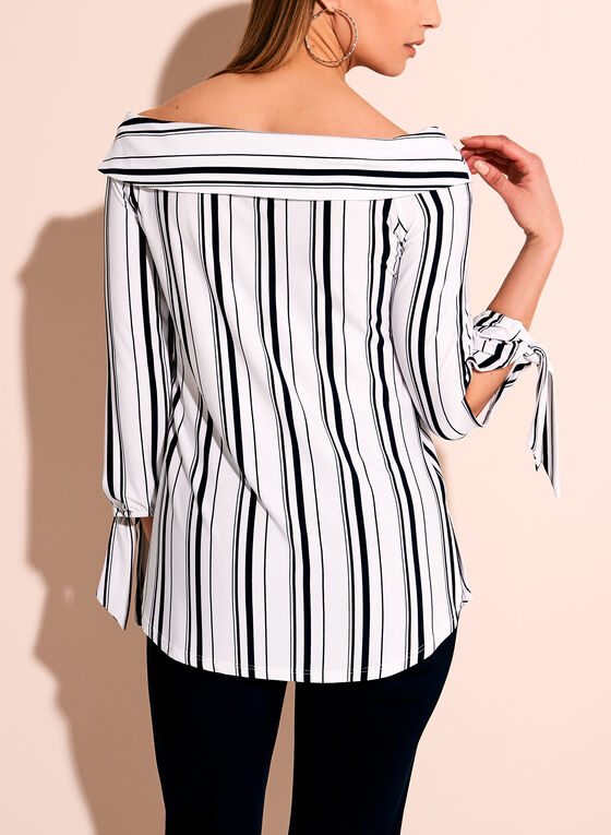Off The Shoulder Stripe Print Blouse, White, hi-res