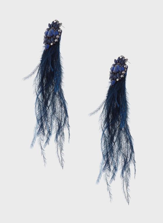 Crystal Starburst Feather Drop Earrings, Blue, hi-res