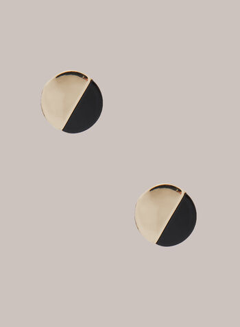 Two Tone Round Earrings, Black,  earrings, round, two tone, metal, resin, fall winter 2020