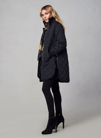 SOSKEN - Quilted Coat, Black, hi-res,  fall winter 2019, quilted coat, zippers, polyester filled,