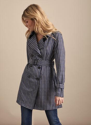 Novelti - Trench boutonné motif chevrons, Bleu,  manteau, trench, ceinture, bouton, chevrons,printemps été 2020