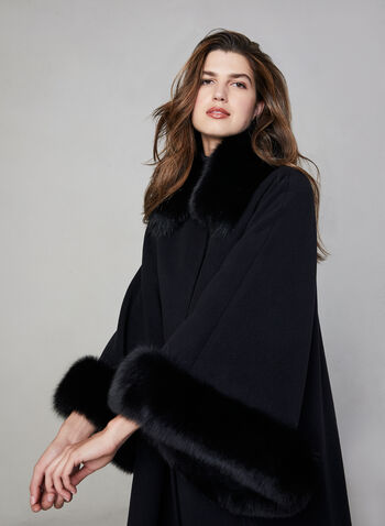 Mallia - Long Wool Blend Cape, Black,  poncho, fall winter 2019, fox fur, made in Canada, wool, cashmere, cape, jacket, coat, outerwear