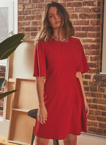 Vince Camuto - Flutter Sleeve Day Dress, Red,  dress, day, round neck, short sleeves, flutter, d-ring, spring summer 2021