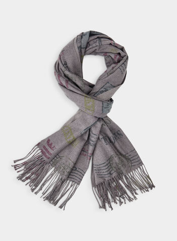 Stamp Print Scarf , Grey,  oblong, fringes, scarf, viscose, stamps, print, soft, wrap, fall 2019, winter 2019