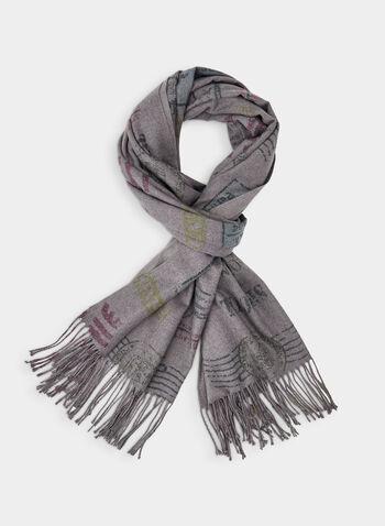 Écharpe à motif timbre, Gris,  foulard, timbre, franges, viscose, automne hiver 2019