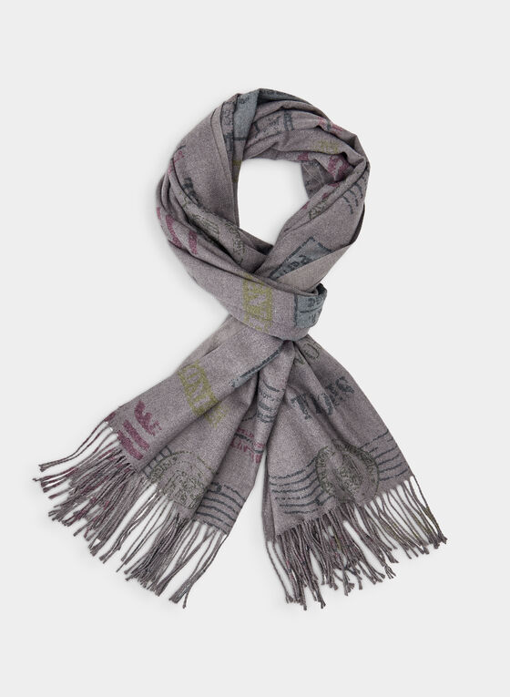 Stamp Print Scarf , Grey