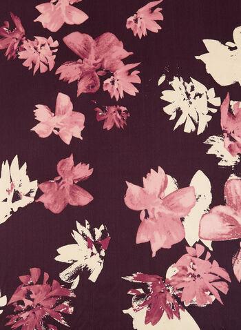 Foulard oblong en soie à fleurs, Rouge, hi-res