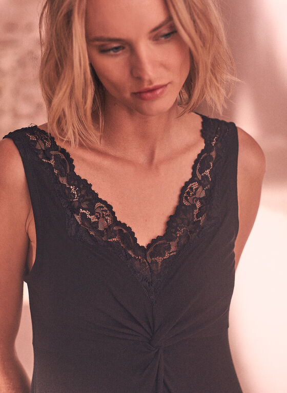 Lace Detail Nightgown, Black
