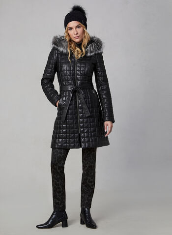 Sicily - Genuine Leather Quilt Coat, Black, hi-res,  canada, coat, leather coat, quilt coat, fur, fox fur, detachable hood, winter 2019, fall 2019