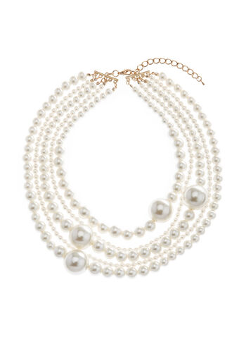 Collier ras-de-cou en perles, Blanc cassé, hi-res