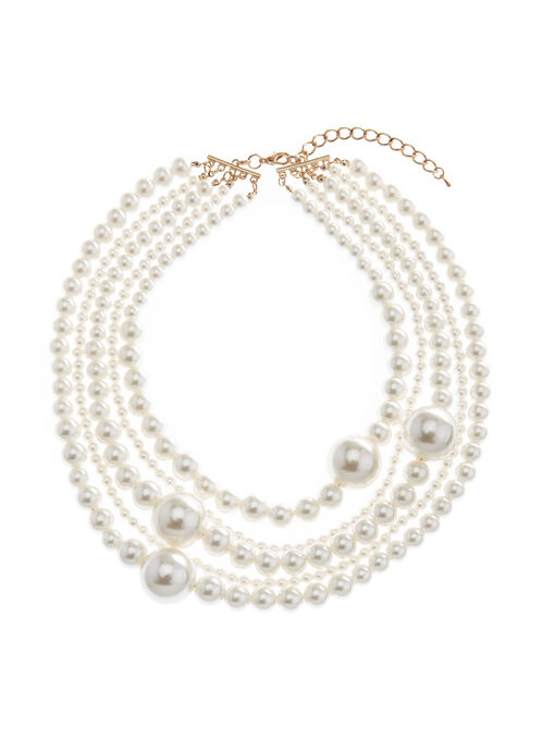 Multi Strand Pearl Choker Necklace, Off White, hi-res