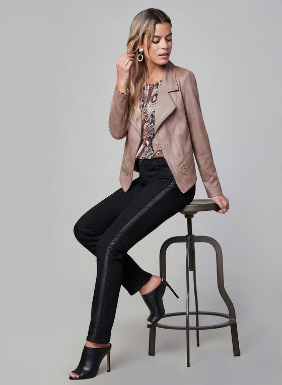Vex - Blazer en faux cuir et détails zippés, Rose, hi-res