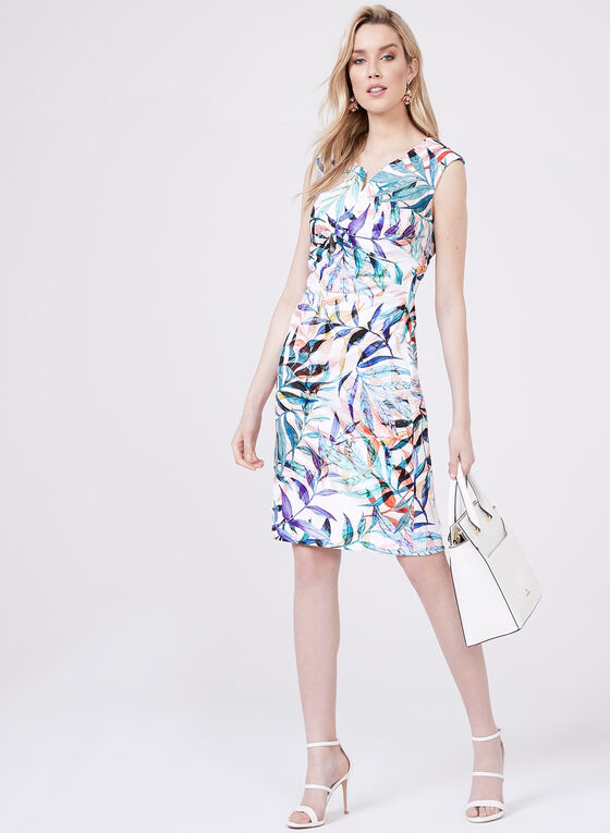 Adrianna Papell - Tropical Print Jacquard Sheath Dress, Multi, hi-res