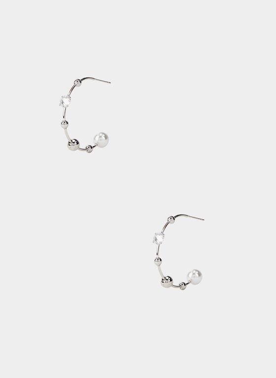 Créoles ajourées à perles, Argent