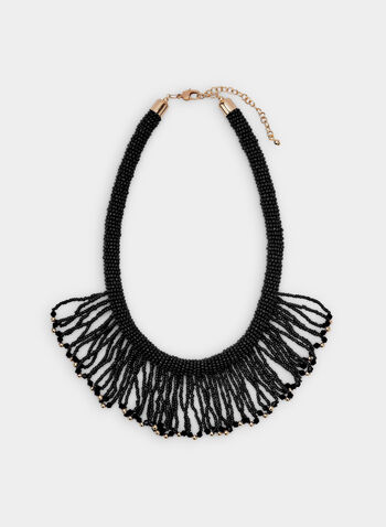 Seed Bead Fringe Necklace, Black, hi-res