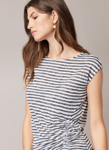 Stripe Print Cap Sleeve Top, Blue,  top, striped, boat neck, cap sleeves, ruched, spring summer 2020