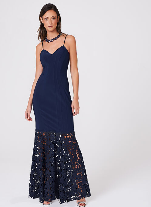 Decode 1.8 - Crochet Hem Sheath Dress, Blue, hi-res