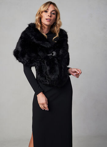 Faux Mink Stole, Black, hi-res,  stole, shawl, coat, short coat, faux mink, faux fur, rhinestone, fall 2019, winter 2019