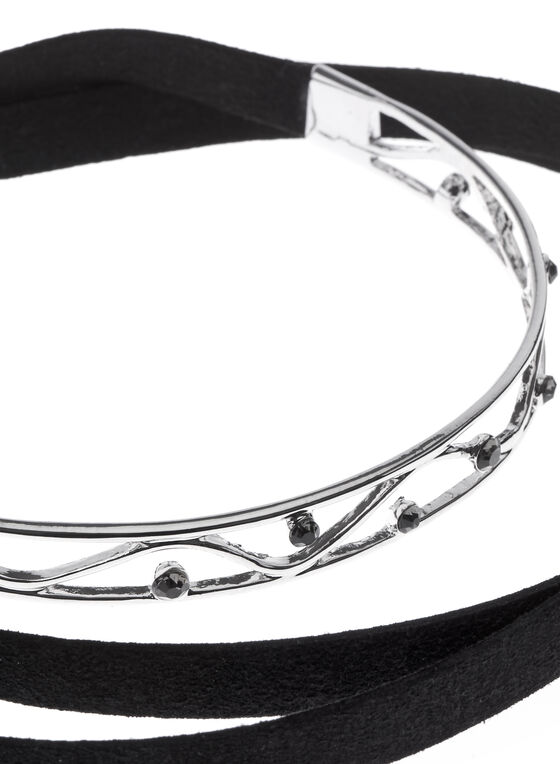 Stone Insert Choker Necklace, Silver, hi-res