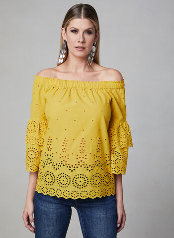Off-the-Shoulder Blouse, Yellow, hi-res