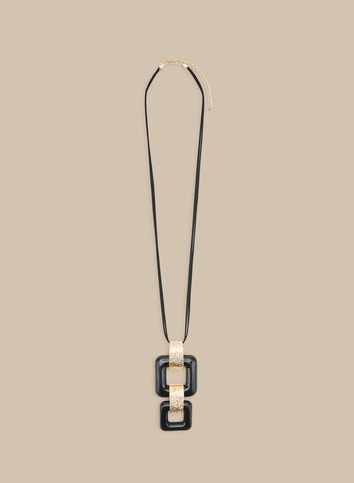 Collier long à pendants carrés, Noir