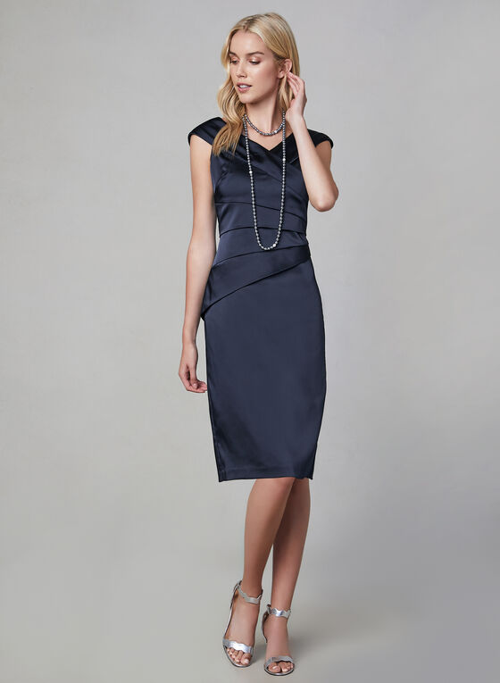 Satin Sheath Dress, Blue