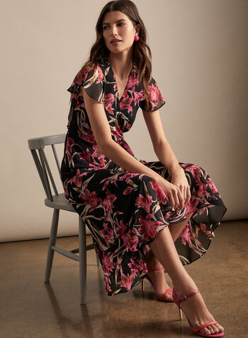 Joseph Ribkoff - Floral Print Wrap Side Dress, Black,  dress, maxi, floral, crepe, ribbed, ruffle, v-neck, wrap, tie belt, spring summer 2020
