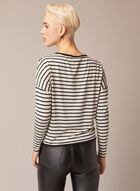 Long Sleeve Striped Top, White