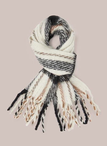 Plaid Brushed Scarf, Black,  fall winter 2020, holiday, gift, winter, warm, soft, chunky, large, fringed, fringe, plaid print, accessories
