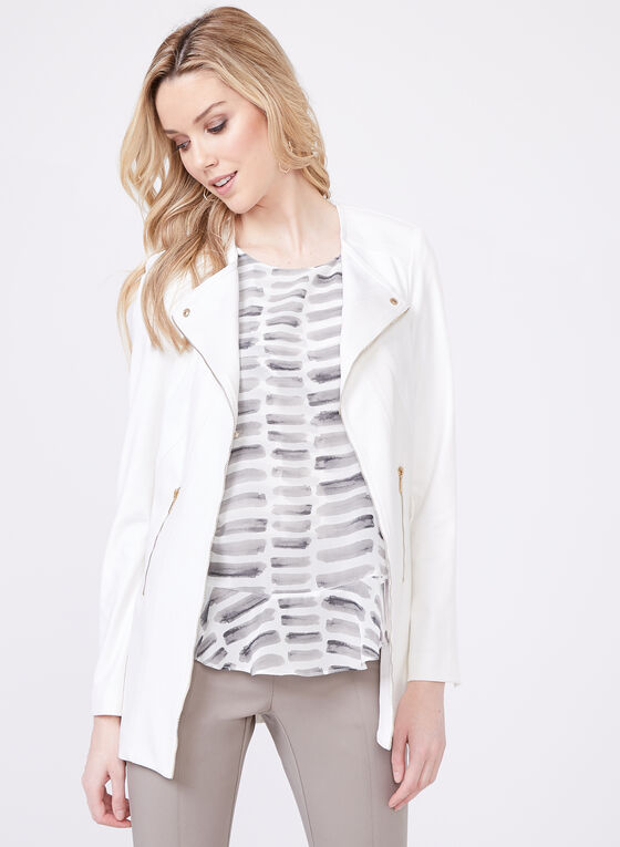 Vex - Long Faux Leather Jacket , Off White, hi-res