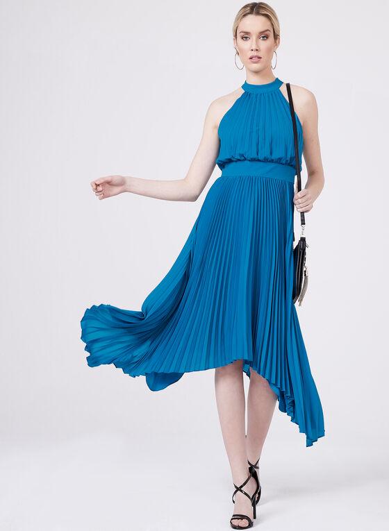 Aidan Mattox - Pleated Halter Dress, Blue, hi-res