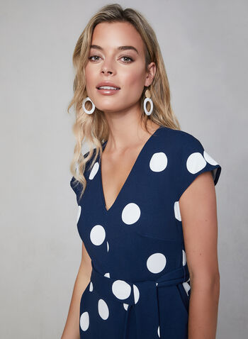 Karl Lagerfeld Paris - Polka Dot Jumpsuit, Blue, hi-res,  Karl Lagerfeld Paris, jumpsuit, scuba crepe, cap sleeves, polka dot print, wide leg, V-neck, fall 2019, winter 2019