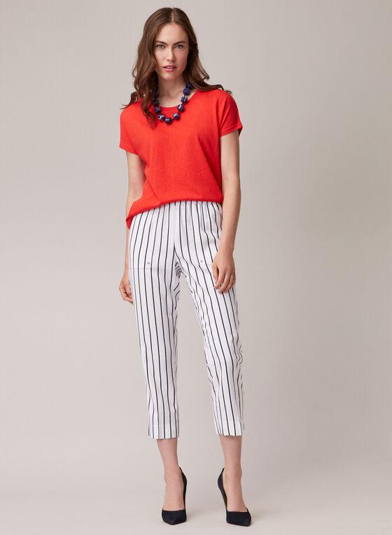 Stripe Print Pull-On Capris, White