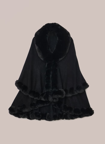 Faux Fur Cape Style Poncho, Black,  poncho, fur, cape, fall winter 2020