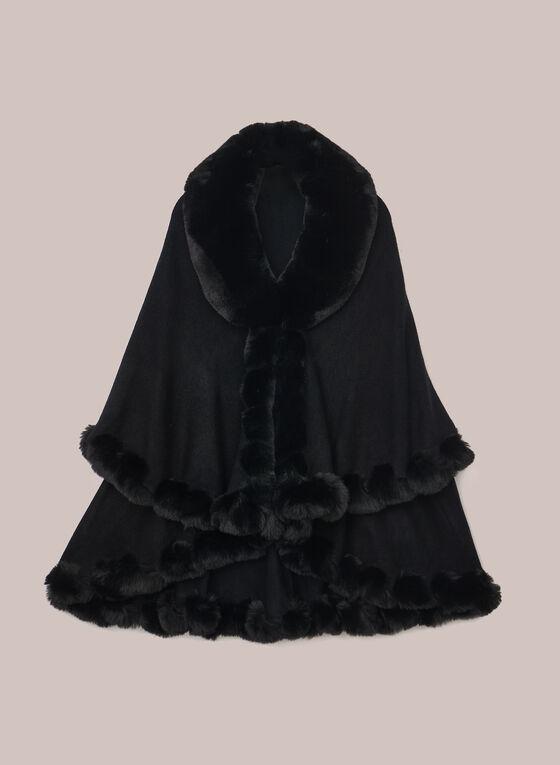 Poncho style cape à fausse fourrure, Noir
